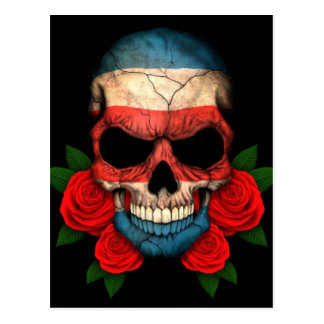 Costa Rica Flag Skull with Red Roses Postcard