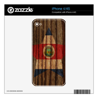 Costa+Rica Flag Star on Wood theme iPhone 4S Skins