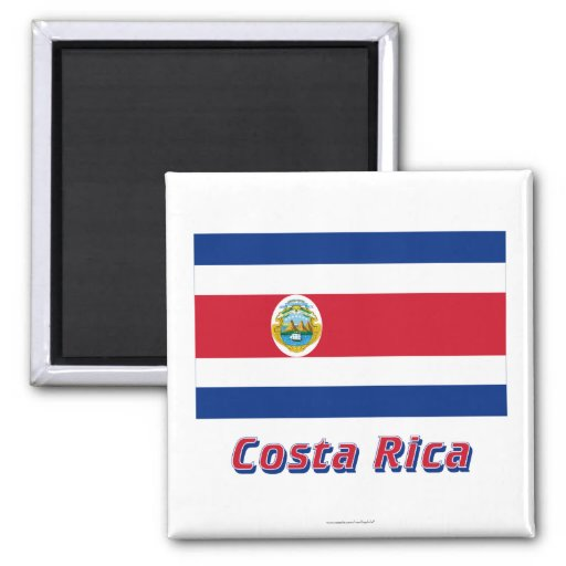 Costa Rica Flag with Name 2 Inch Square Magnet