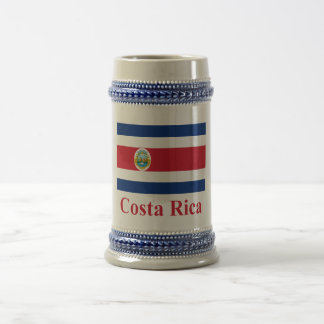 Costa Rica Flag with Name Beer Stein