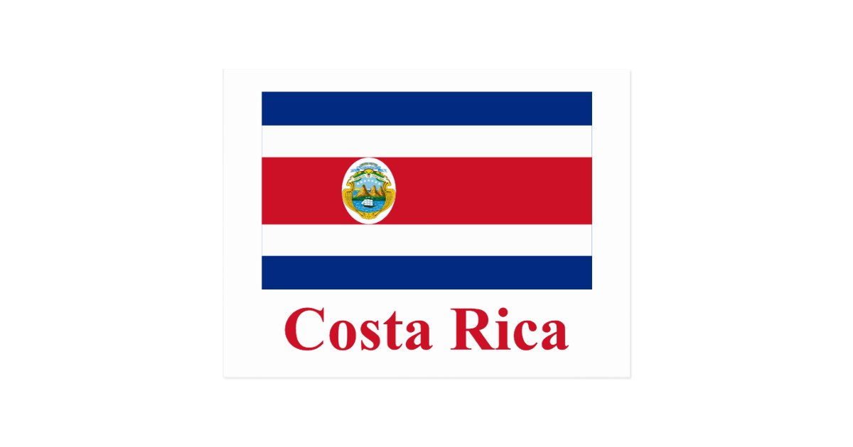 Costa Rica Flag with Name Postcard | Zazzle