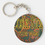 Costa Rica Folk Art Pura Vida Basic Round Button Keychain