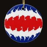 Costa Rica Gnarly Flag Ceramic Ornament