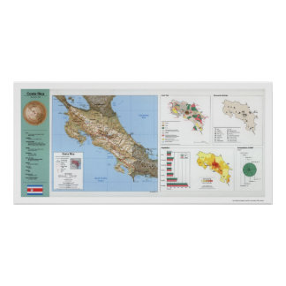 Costa Rica Map 1991 Print