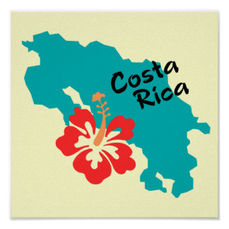 Costa Rica map art with hibiscus flower Print