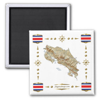 Costa Rica Map + Flags Magnet