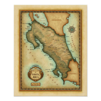 Costa Rica Map Poster