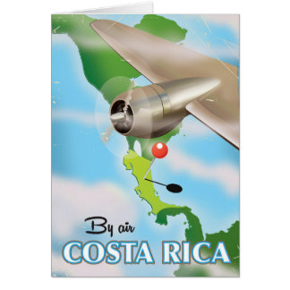 Costa Rica Map vintage travel poster Card