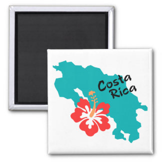 Costa Rica map with hibiscus 2 Inch Square Magnet