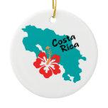 Costa Rica map with hibiscus Ceramic Ornament