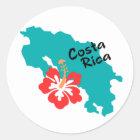 Costa Rica map with hibiscus Classic Round Sticker