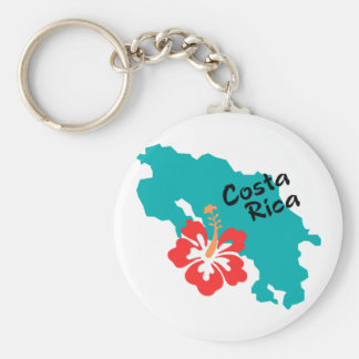 Costa Rica map with hibiscus Keychain