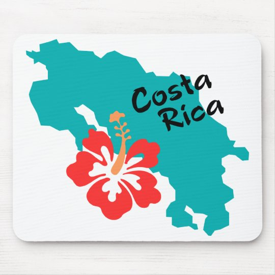 Costa Rica map with hibiscus Mouse Pad