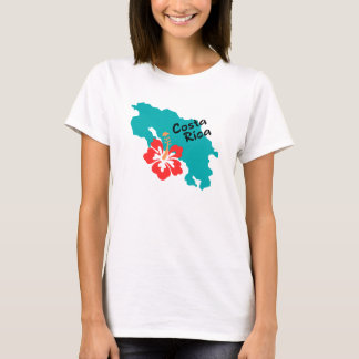 Costa Rica map with hibiscus T-Shirt