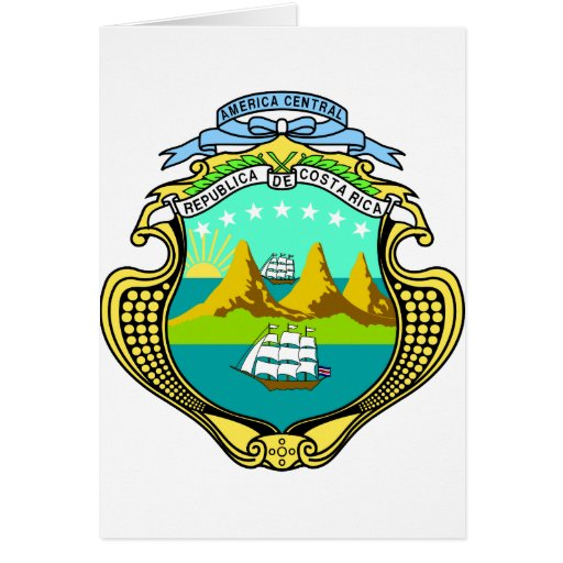 Costa Rica Official Coat Of Arms Heraldry Symbol Greeting Card