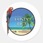 Costa Rica - pegatina redondo clásico, brillante