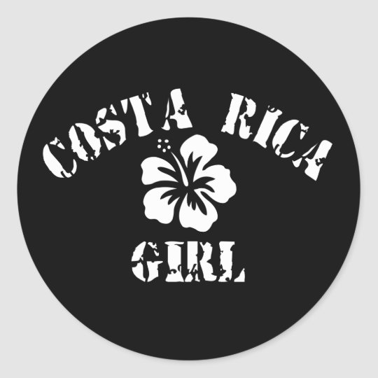 Costa Rica Pink Girl Classic Round Sticker