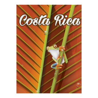 Costa Rica Poison frog travel poster