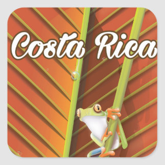 Costa Rica Poison frog travel poster Square Sticker