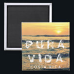 """Costa Rica Pura Vida Sunset Souvenir Magnet<br><div class=""""desc"""">Costa Rica travel souvenir magnet featuring photo of beautiful sunset in Playa Avellana,  Guanacaste. Text can be changed to suit your needs. To change font style,  size or ink color - use the customize it feature.</div>"""