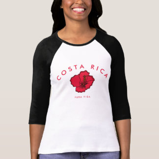 Costa Rica Red Hibiscus Pura Vida Souvenir Tee