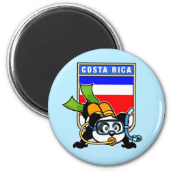 Round Magnet with Costa Rica Scuba Diving Panda design