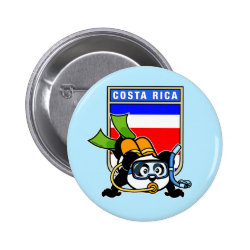 Round Button with Costa Rica Scuba Diving Panda design