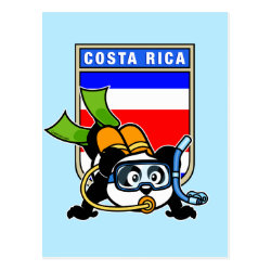 Postcard with Costa Rica Scuba Diving Panda design