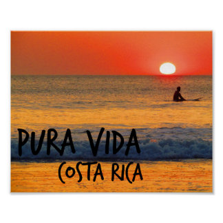 Costa Rica Sunset Surfer Poster