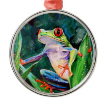 Costa Rica Tree Frog Metal Ornament