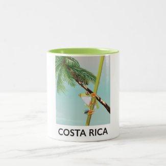 Costa Rica Tree Frog Vacation poster Two-Tone Coffee Mug