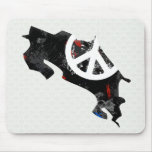 Costa Rica Trendy Peace Sign with Costa Rican map Mouse Pad