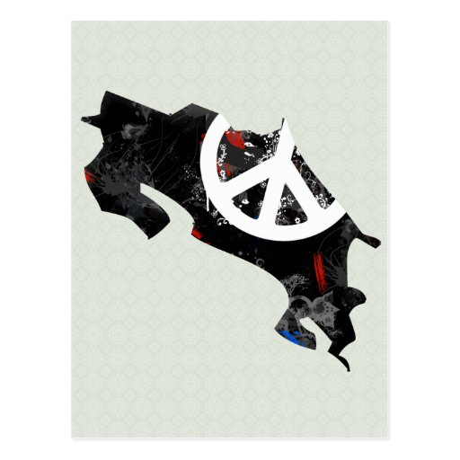 Costa Rica Trendy Peace Sign with Costa Rican map Postcard