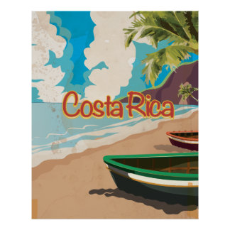 Costa Rica Vintage Travel Poster