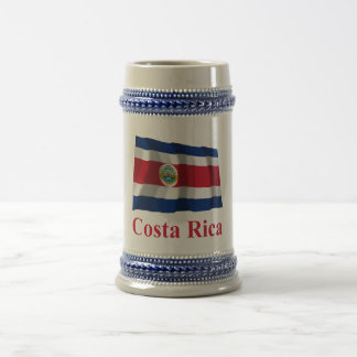 Costa Rica Waving Flag with Name Beer Stein