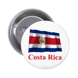Costa Rica Waving Flag with Name Pinback Buttons