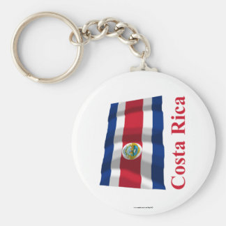 Costa Rica Waving Flag with Name Keychain