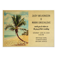 Costa Rica Wedding Invitation Beach Palm Tree