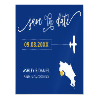 Costa Rica Wedding Save the Date Card, Map Magnetic Invitation