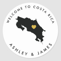 Costa Rica Wedding Welcome Sticker Tag, Gold Black