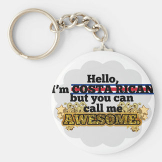 Costa Rican, but call me Awesome Basic Round Button Keychain