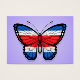 Costa Rican Butterfly Flag on Purple Business Card