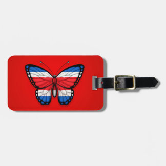 Costa Rican Butterfly Flag on Red Luggage Tag