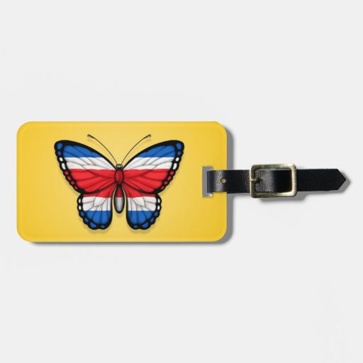 Costa Rican Butterfly Flag on Yellow Tag For Luggage