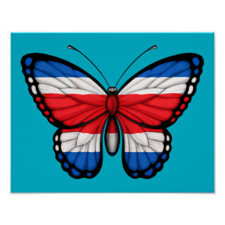 Costa Rican Butterfly Flag Poster