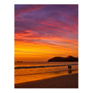 Costa Rican couple at sunset Postcard