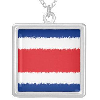 Costa Rican Flag Square Pendant Necklace