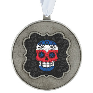 Costa Rican Flag Sugar Skull with Roses Scalloped Ornament