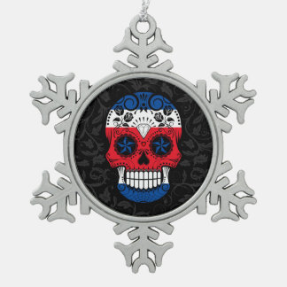 Costa Rican Flag Sugar Skull with Roses Ornament