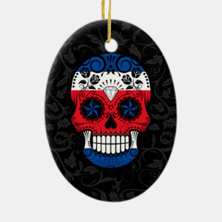 Costa Rican Flag Sugar Skull with Roses Christmas Tree Ornaments